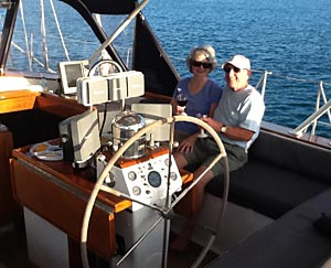 A couple enjoys sailing aboard La Boheme
